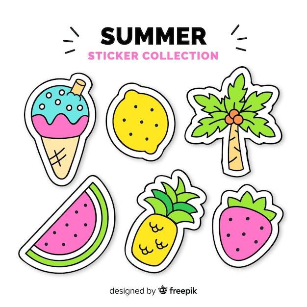Красочные рисованной летней коллекции стикеров Бесплатные векторы