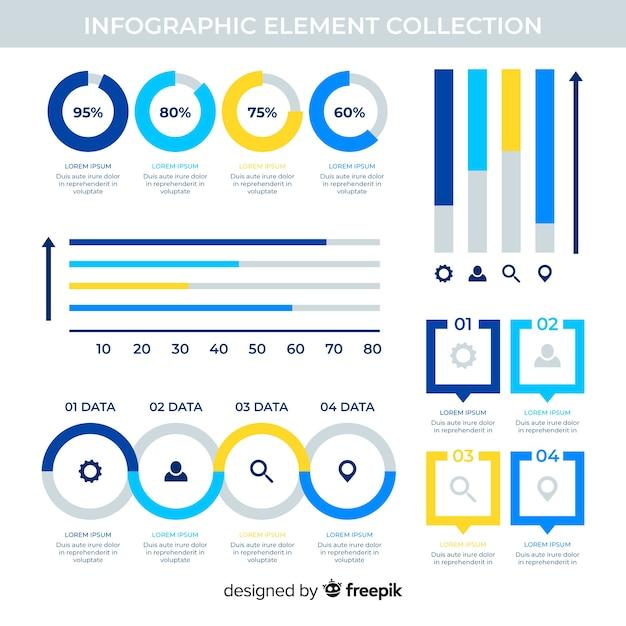 統計情報のコレクションを持つ平らなインフォグラフィック要素 無料ベクター