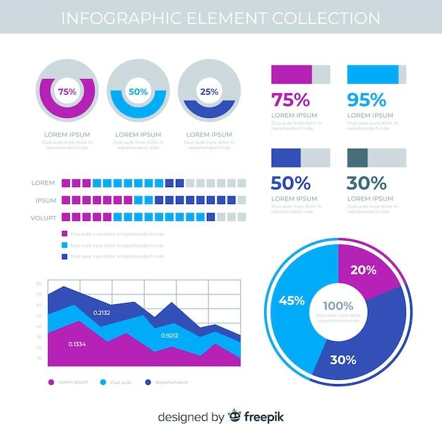 Плоские инфографики элементы с коллекцией статистики Бесплатные векторы