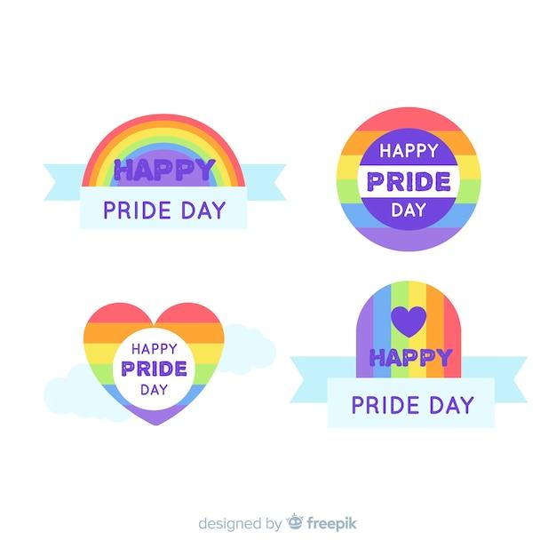 Коллекция красочных гордости день этикетки Бесплатные векторы