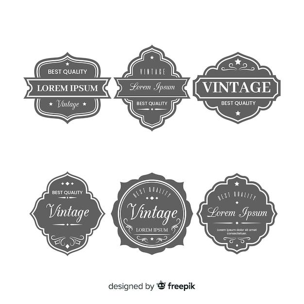 ビンテージグレーのロゴのセット 無料ベクター
