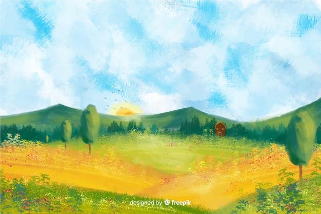 Акварельный пейзаж фермы Бесплатные векторы