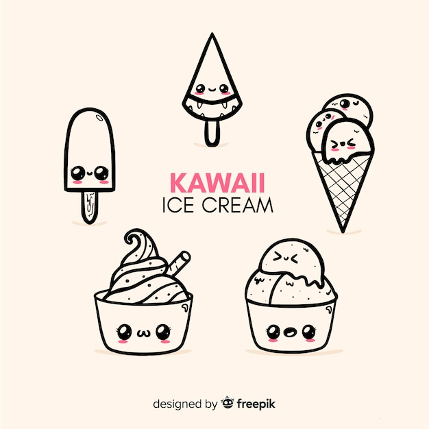 かわいいアイスクリームキャラクター集 無料ベクター