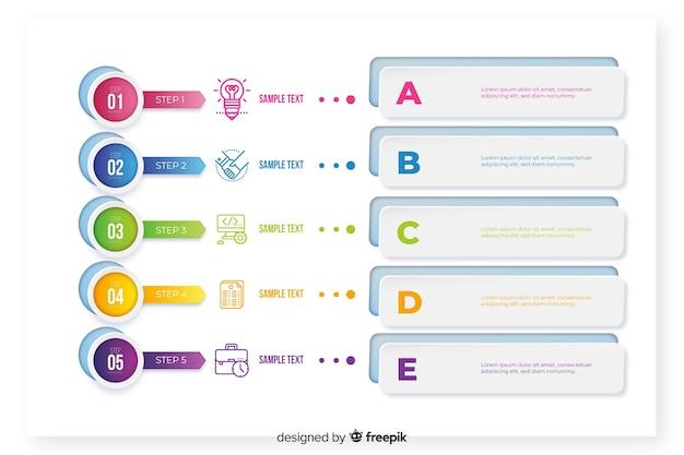 Инфографики шаблон с красочными элементами Бесплатные векторы