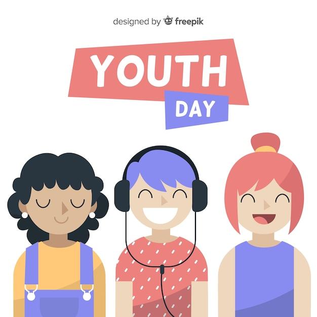 Ручной обращается день молодежи фон Бесплатные векторы