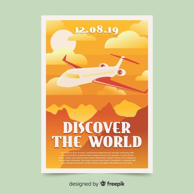Плоский винтажный рекламный плакат Бесплатные векторы