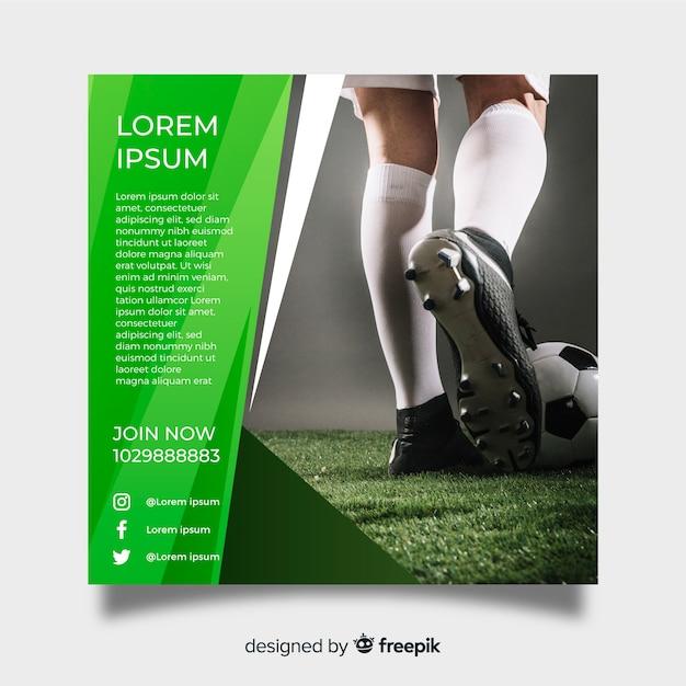Футбольный плакат с фото Бесплатные векторы