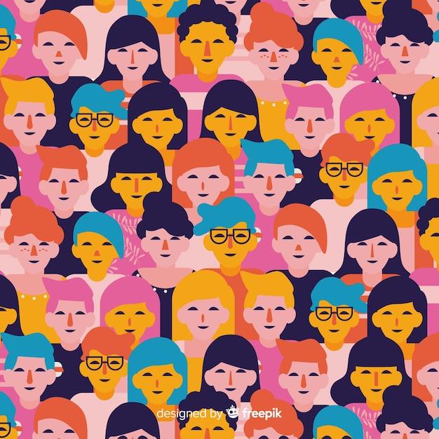 Красочные плоские молодежные люди шаблон Бесплатные векторы