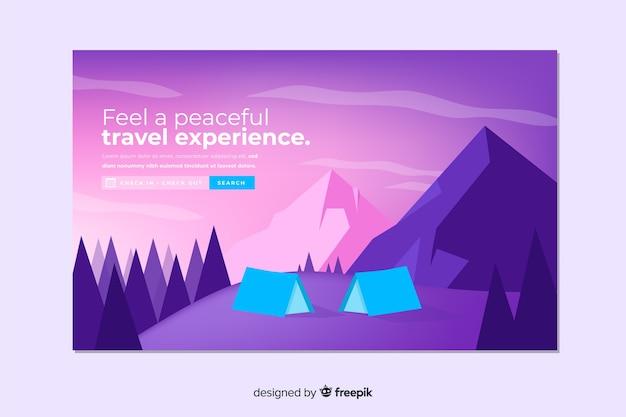 抽象旅行のランディングページ 無料ベクター