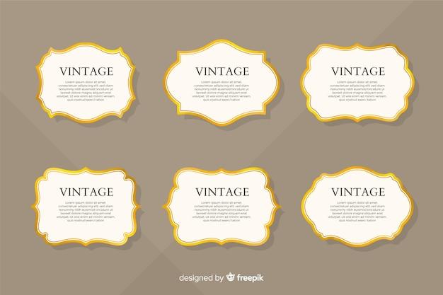 フラットビンテージゴールデンフレームコレクション 無料ベクター