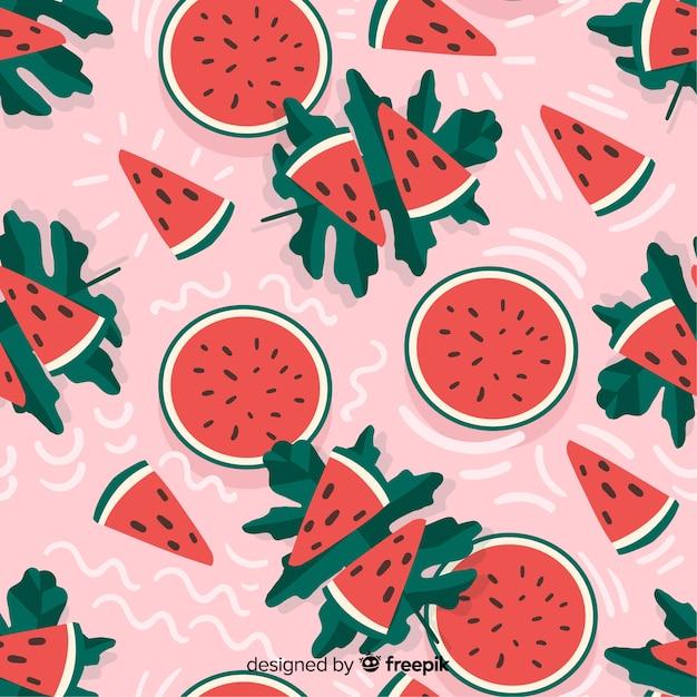 Плоский тропический фон с фруктами Бесплатные векторы