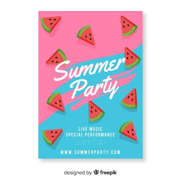 スイカとカラフルな夏のパーティーのポスター 無料ベクター