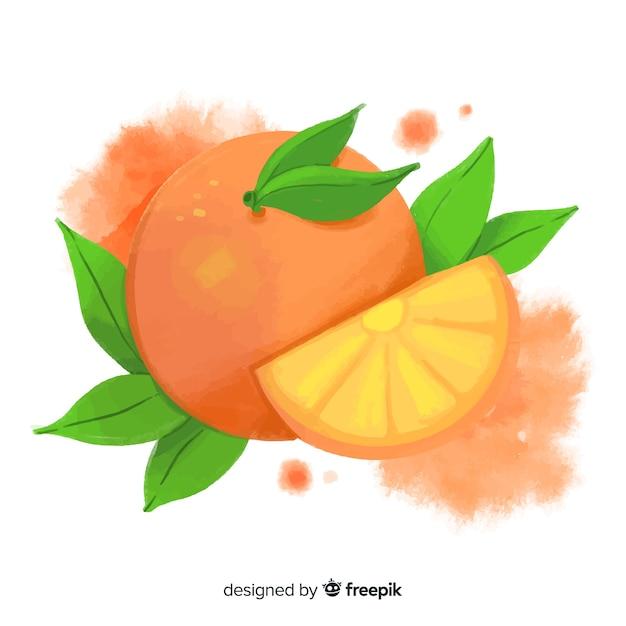 オレンジと水彩のフルーツの背景 無料ベクター