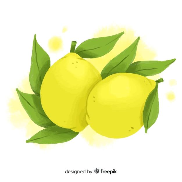 レモンと水彩のフルーツの背景 無料ベクター
