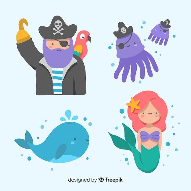 手描きの海の文字コレクション 無料ベクター