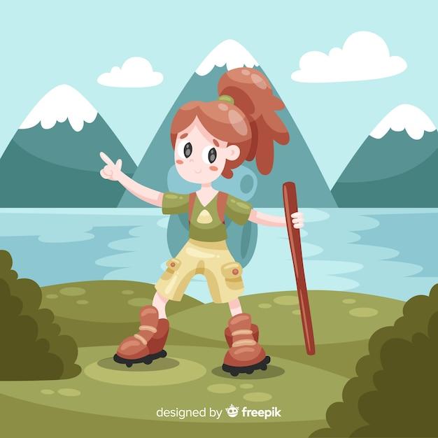Девушка собирается на фоне поездки Бесплатные векторы