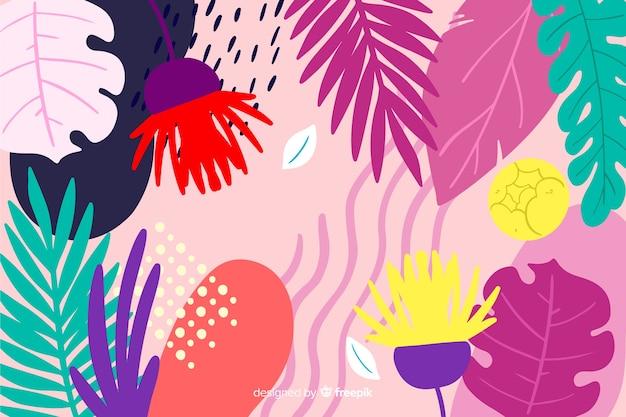 抽象的な手描きの熱帯の背景 無料ベクター