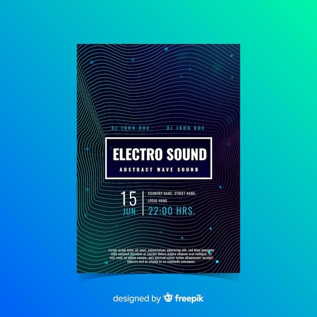 Шаблон постера звуковой волны музыки Бесплатные векторы