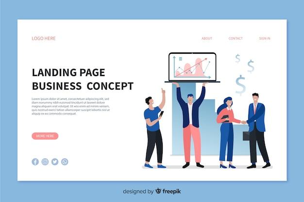 ビジネスコンセプトのランディングページのテンプレート 無料ベクター