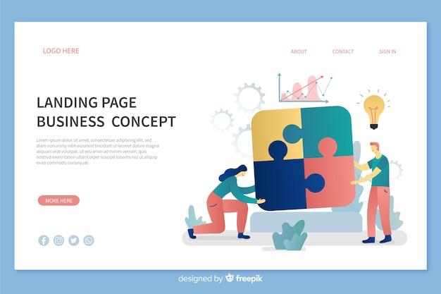 Шаблон бизнес-концепции целевой страницы Бесплатные векторы