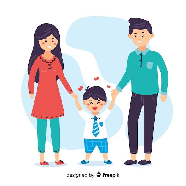 Школьник с родителями Бесплатные векторы