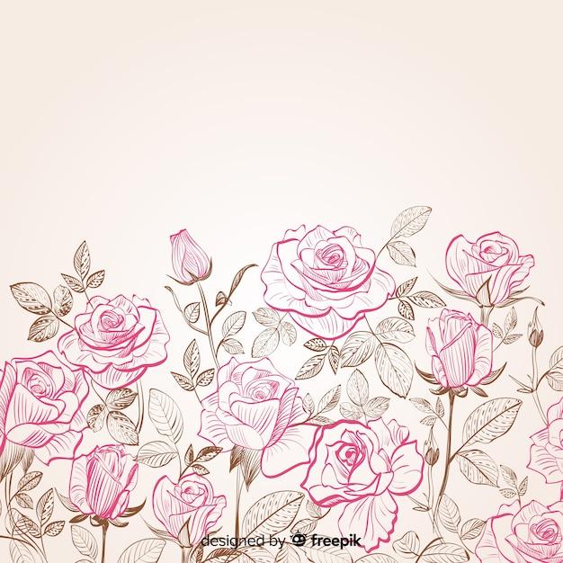 手描きの花と葉の背景 無料ベクター