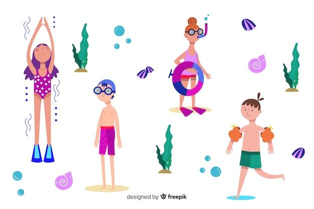 ビーチで夏を楽しむ人々 無料ベクター