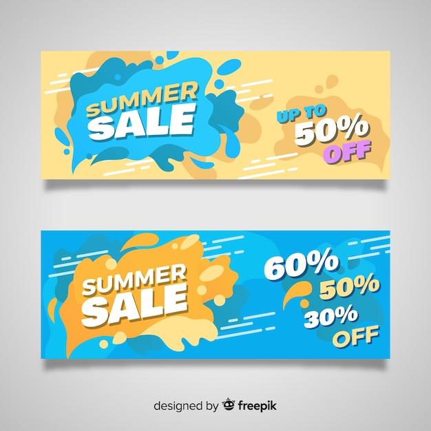 Летняя распродажа жидкой формы баннеров Бесплатные векторы
