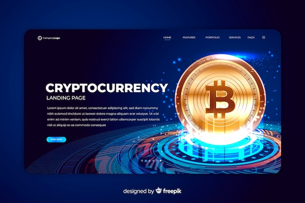 Шаблон целевой страницы биржи криптовалют Бесплатные векторы
