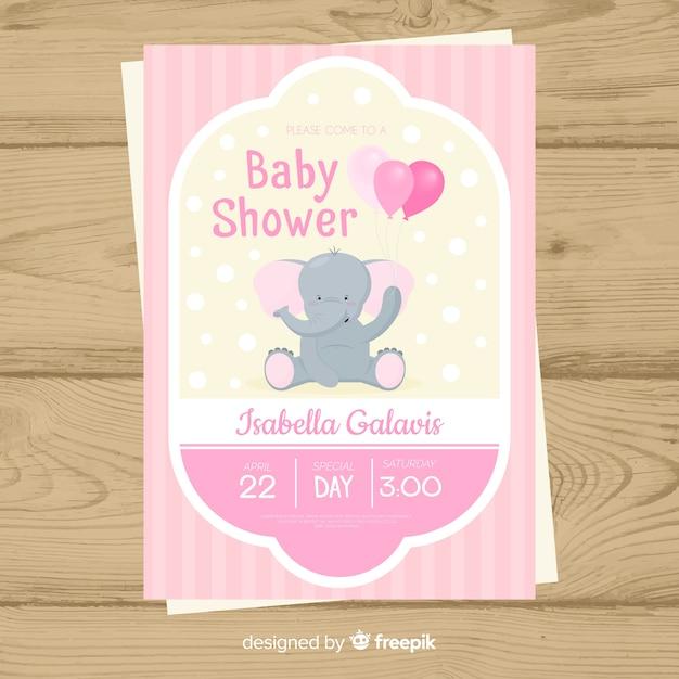 ベビーシャワーの招待状カードのテンプレート 無料ベクター