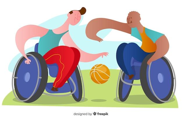 手描き障害者選手の背景 無料ベクター