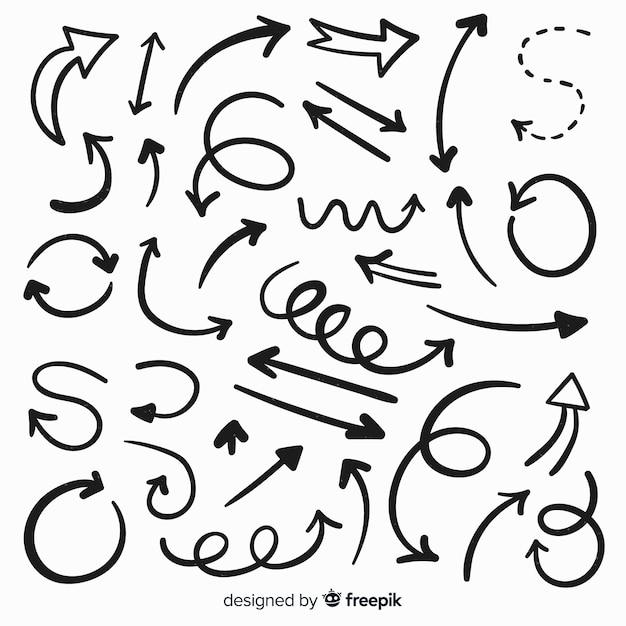 Коллекция рисованной декоративной стрелы Бесплатные векторы