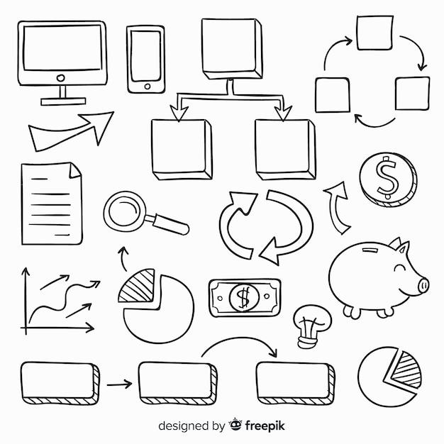 手描きのインフォグラフィック要素のコレクション 無料ベクター
