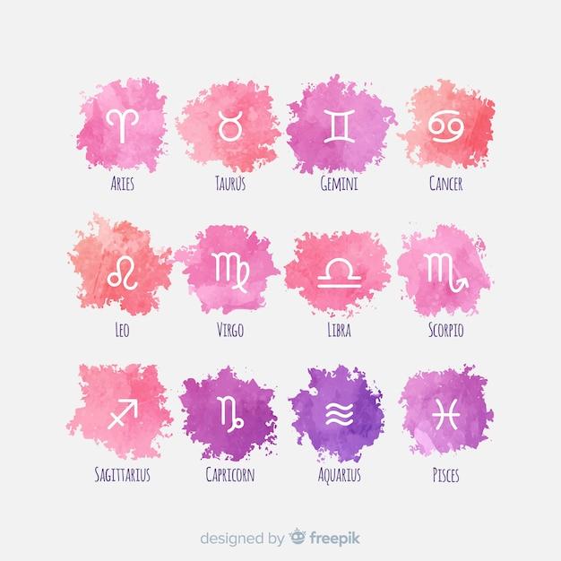 Коллекция акварельных знаков зодиака Бесплатные векторы