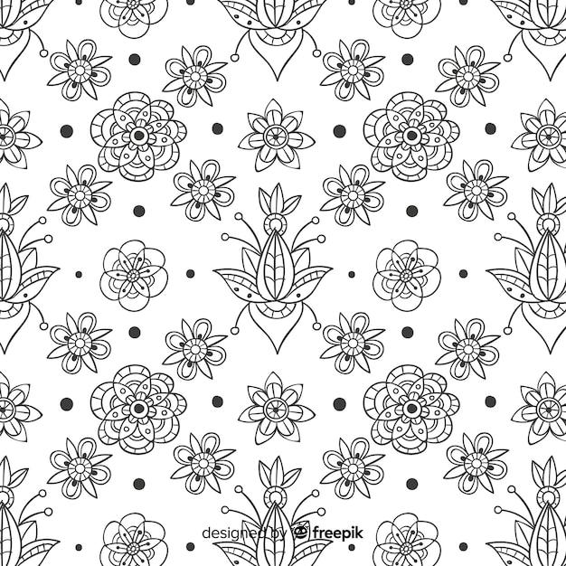 手描きの花要素パターン 無料ベクター