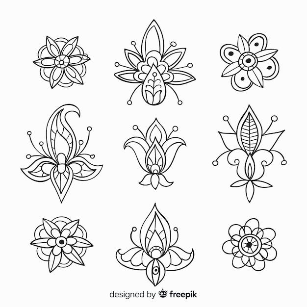 手描きの花飾り要素のコレクション 無料ベクター
