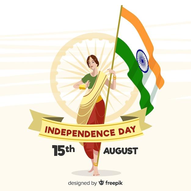 Ручной обращается фон день независимости индии Бесплатные векторы