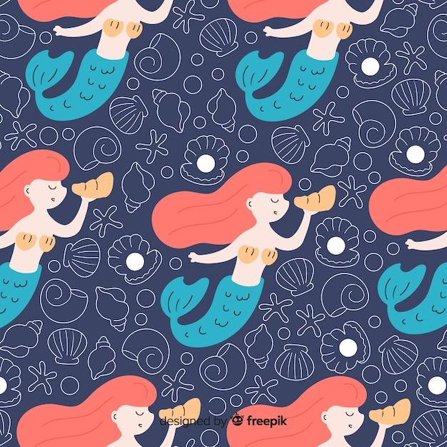 人魚と平らな海洋パターン 無料ベクター