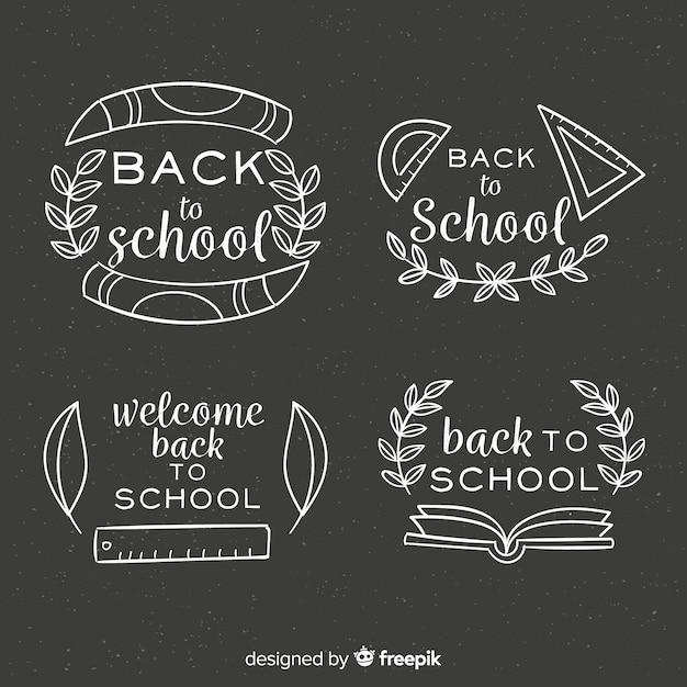 学校のバッジコレクションに戻る黒板 無料ベクター