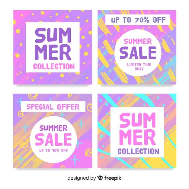 カラフルな夏のセールカードコレクション 無料ベクター