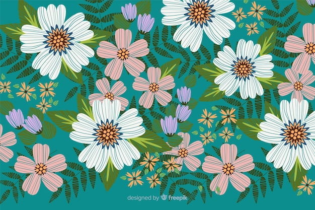 カラフルな装飾的な刺繍花の背景 無料ベクター