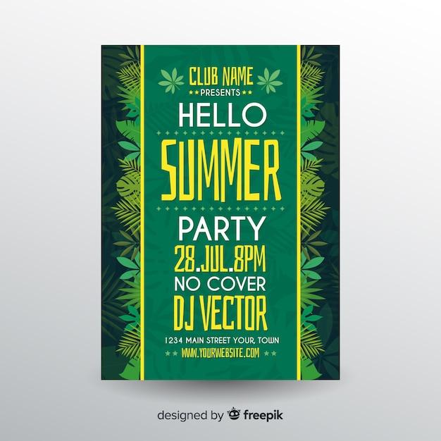 Шаблон плаката плоская летняя вечеринка Бесплатные векторы