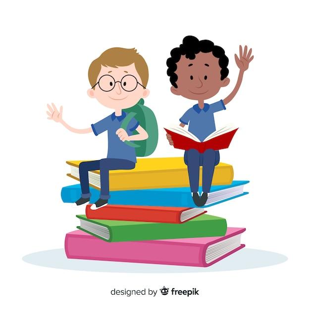 漫画の子供たちが学校の背景に戻る 無料ベクター