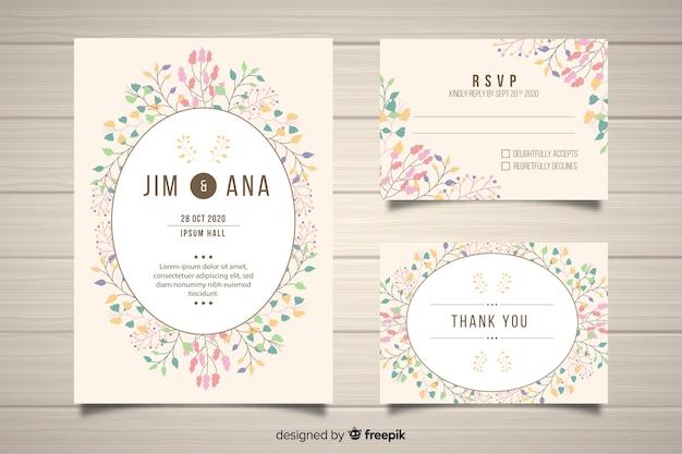 平らな花の結婚式の文房具の型板 無料ベクター