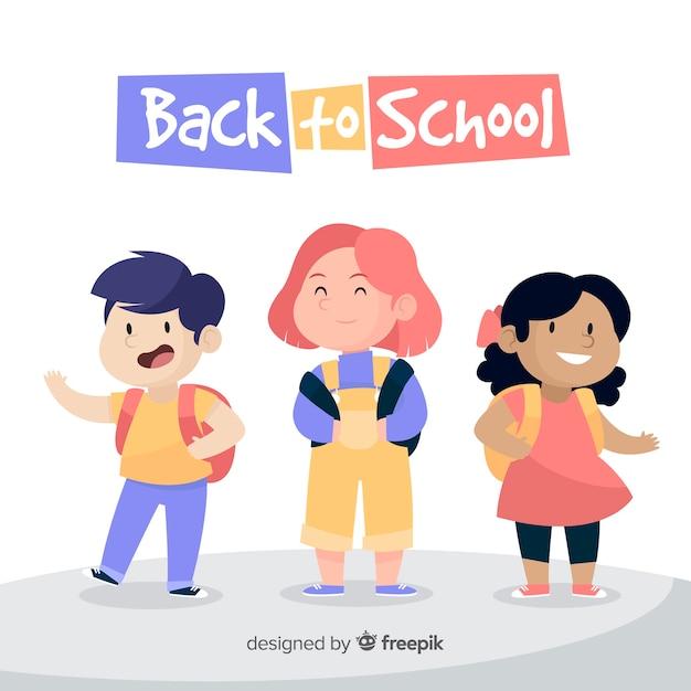 手描きの子供たちが学校の背景に戻る 無料ベクター