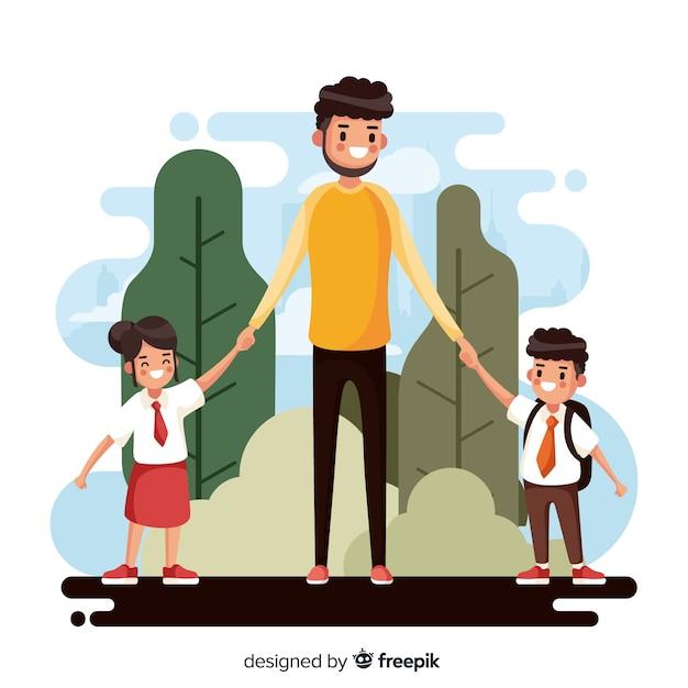 父親と一緒に学校の子供たちに戻る 無料ベクター