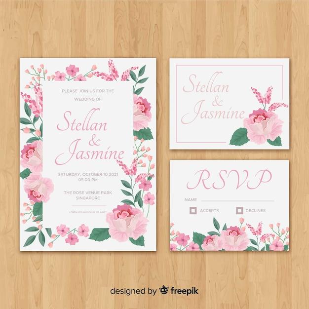花の結婚式の静止テンプレートコレクション 無料ベクター