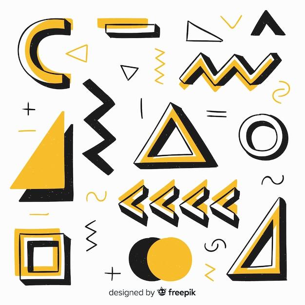 手描きの抽象的な幾何学的な背景 無料ベクター
