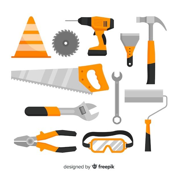 Коллекция плоского строительного оборудования Бесплатные векторы