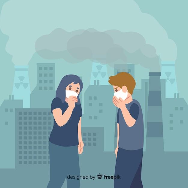Люди страдают от загрязнения плоском фоне Бесплатные векторы